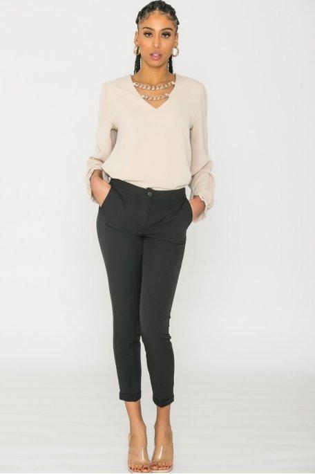 Pantalon tailleur noir