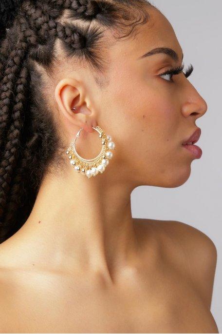 Créoles à perles doré