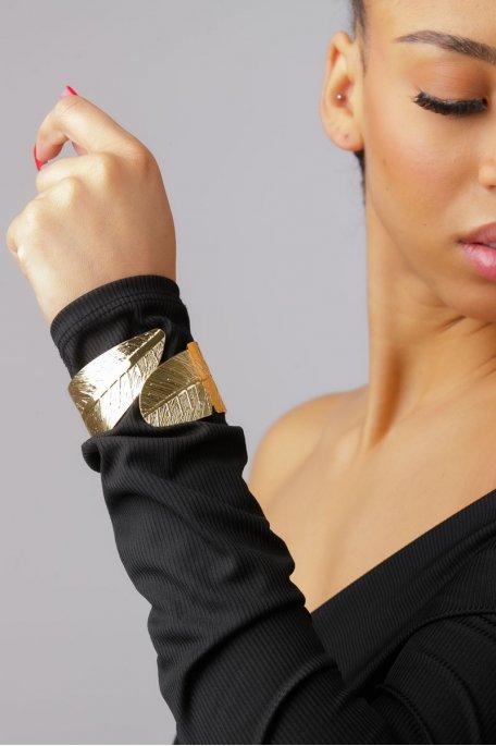 Bracelet manchette feuille doré