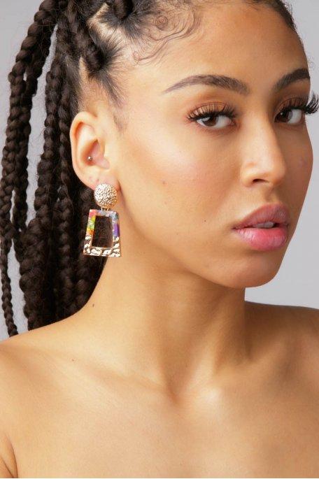 Boucles d'oreilles multicolores doré