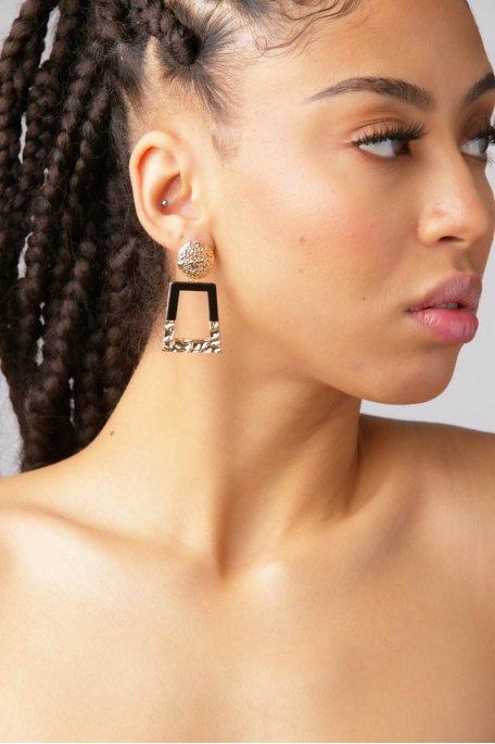 Boucles d'oreilles pendantes noir doré