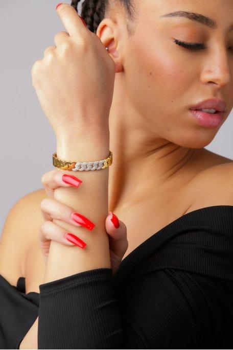 Bracelet effet chaîne à strass doré