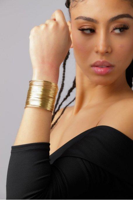 Bracelet manchette longue doré