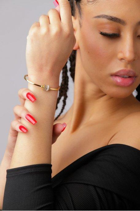 Bracelet fin strass doré