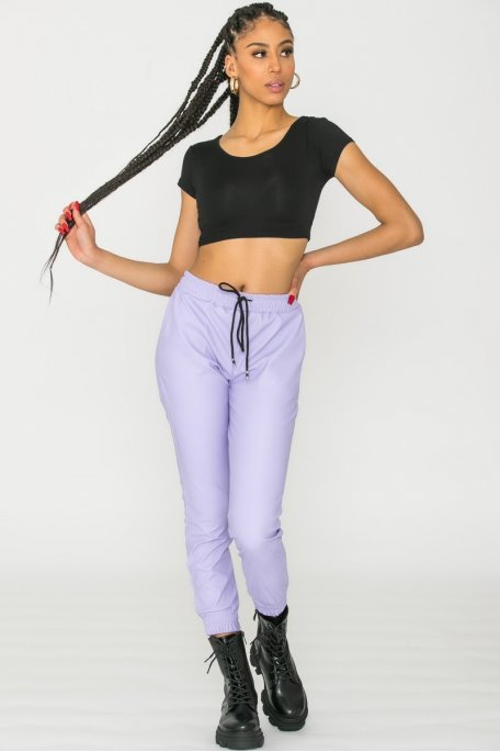 Pantalon jogging lilas simili cuir