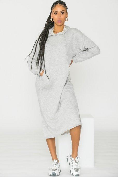 Robe sweat capuche gris