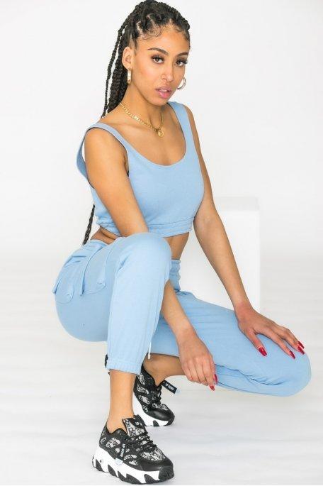 Ensemble débardeur pantalon bleu