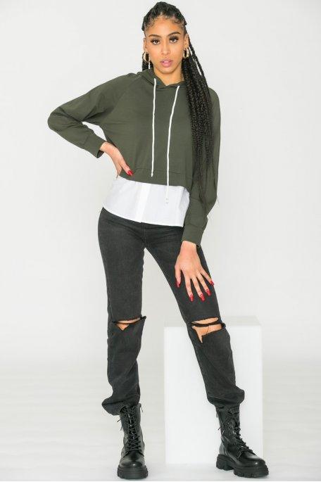 Sweat bi-matière style chemise kaki