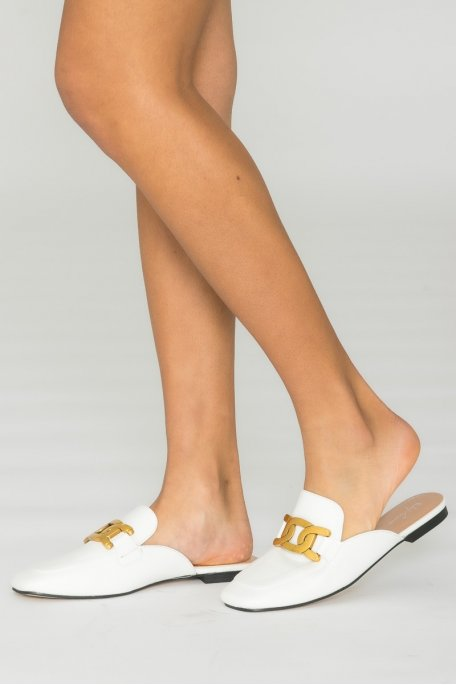 Mules chaîne dorée blanc