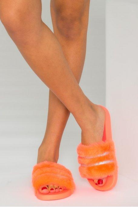Claquettes fausse fourrure strass orange fluo