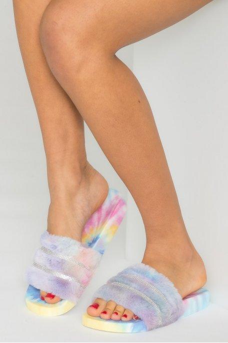 Claquettes fausse fourrure strass multicolor