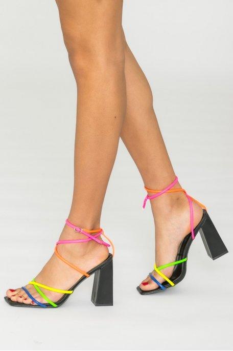 Sandales à brides talon bloc multicolore