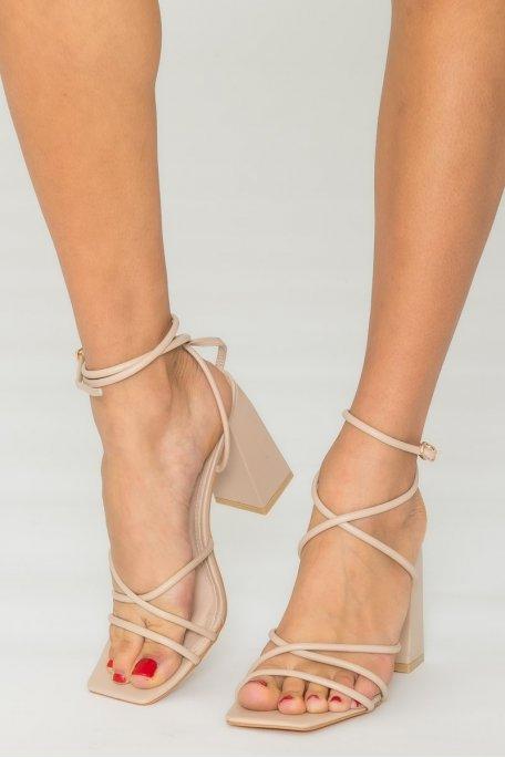 Sandales à brides talon bloc beige