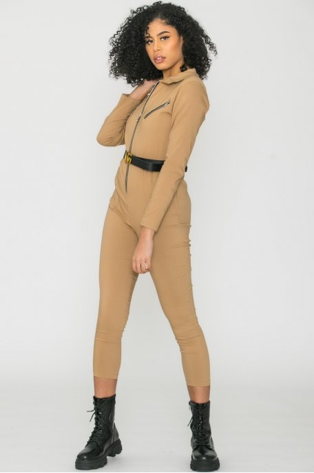 Combinaison zip ceinture camel