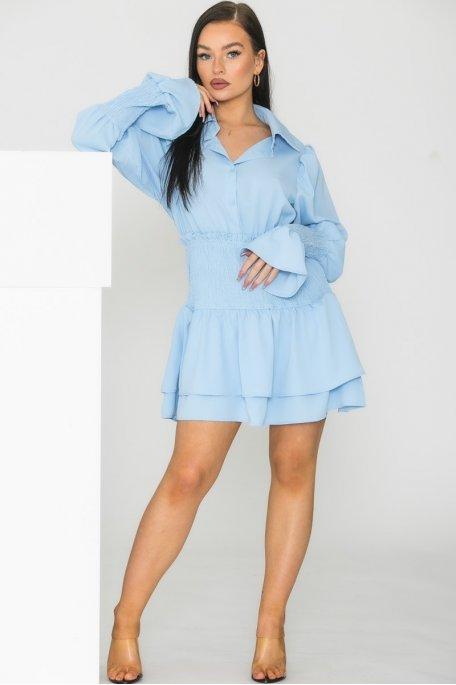 Robe chemise froncée bleu
