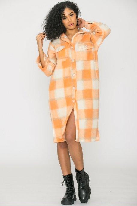 Veste longue chemise carreaux orange