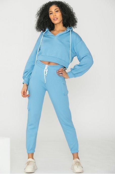Pantalon jogging cargo bleu