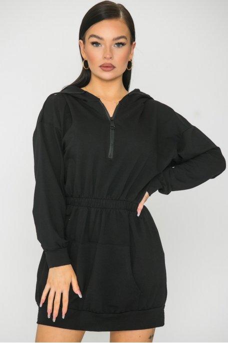 Robe sweat cintrée à capuche noir