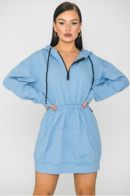 Robe sweat cintrée à capuche bleu