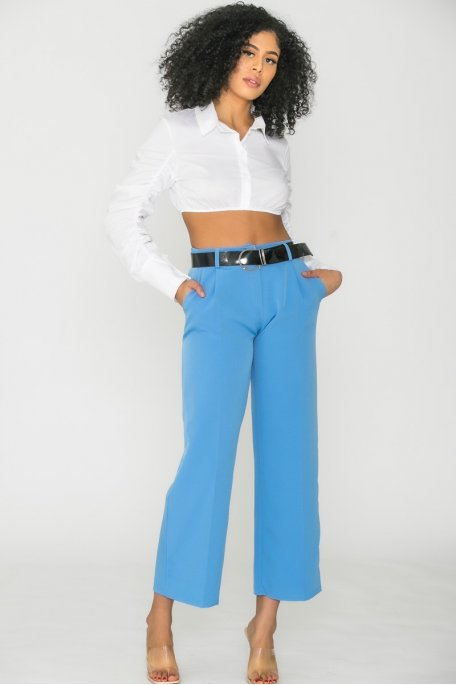 Pantalon large taille haute ceinture bleu
