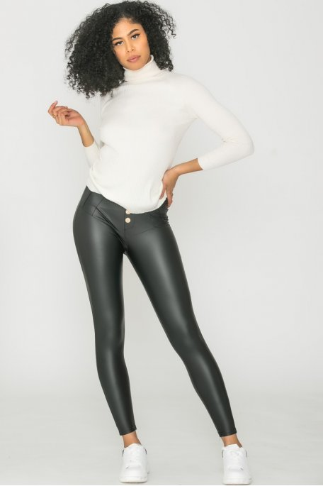 Pantalon simili boutonné noir