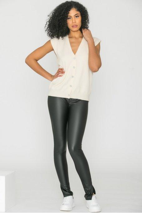 Legging fendu simili cuir noir