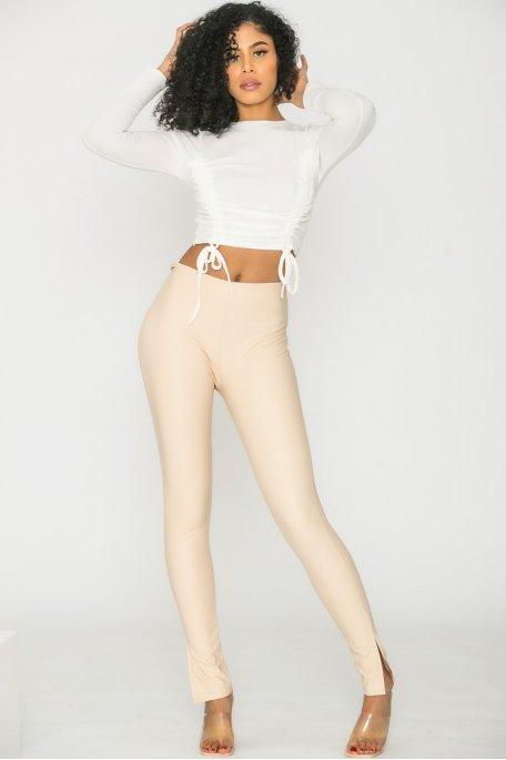 Legging fendu simili cuir beige