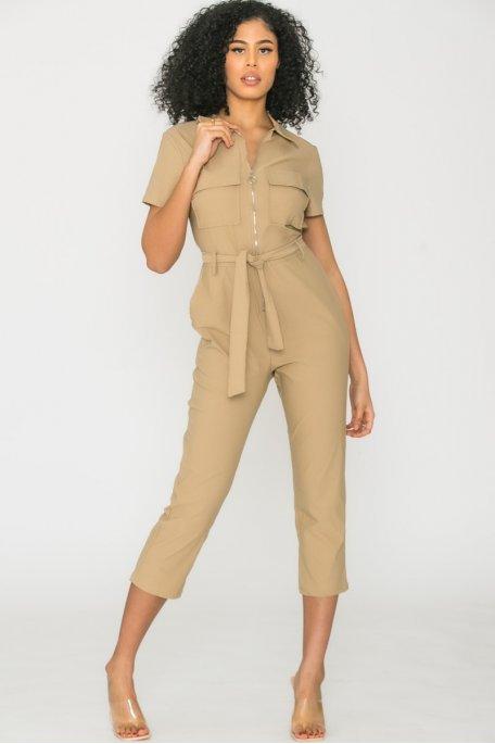 Combinaison zip ceinture beige