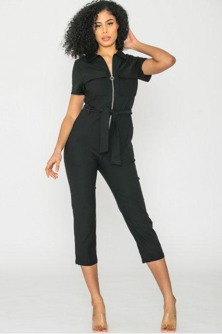 Combinaison zip ceinture noir