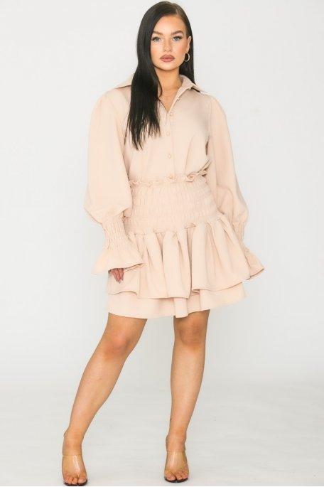 Ensemble texturé jupe beige