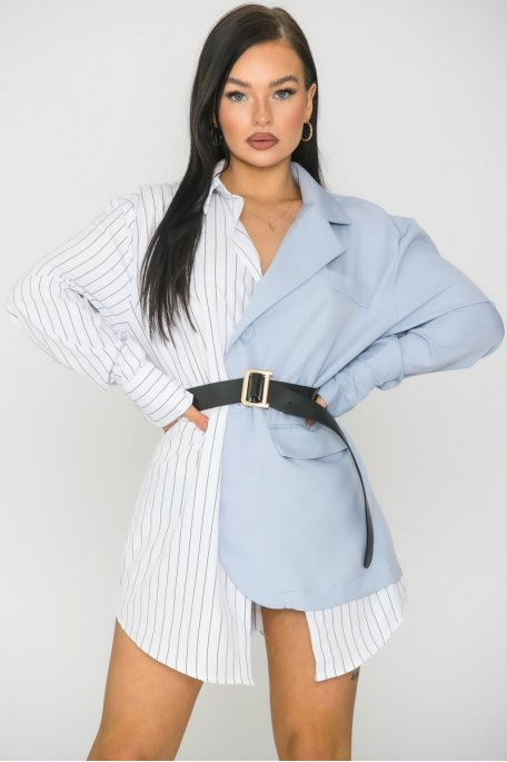 Chemise blazer bicolore rayure bleu