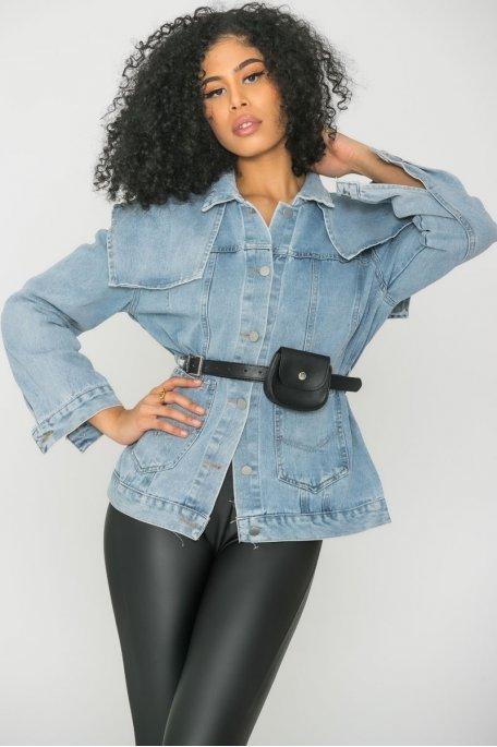 Veste en jean ceinture bleu