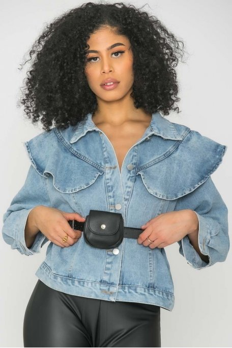Veste en jean courte ceinture bleu