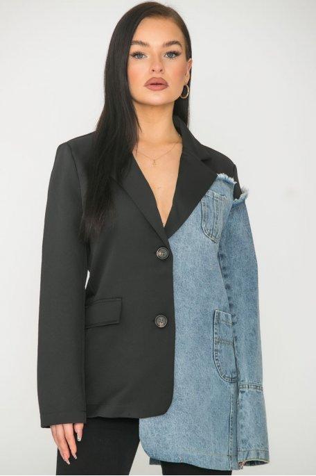 Veste en jean blazer bicolore noir