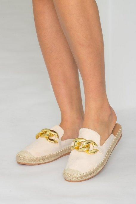 Mules style espadrilles chaîne beige