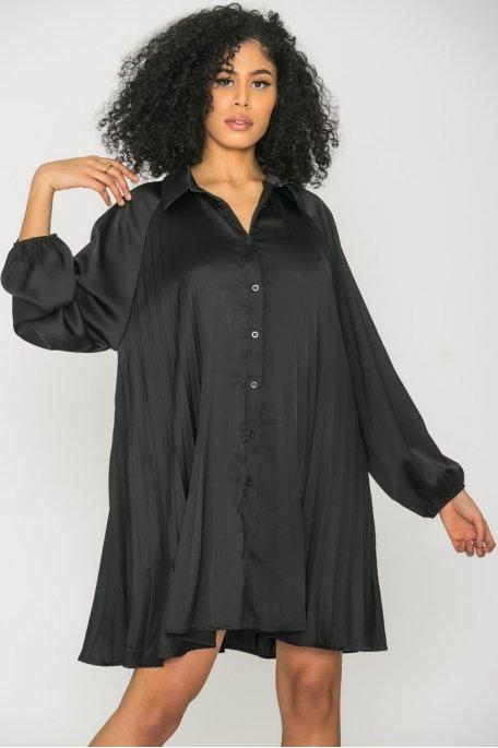 Robe chemise satinée plissée noir