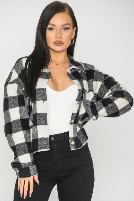 Chemise courte bûcheron à carreaux noir