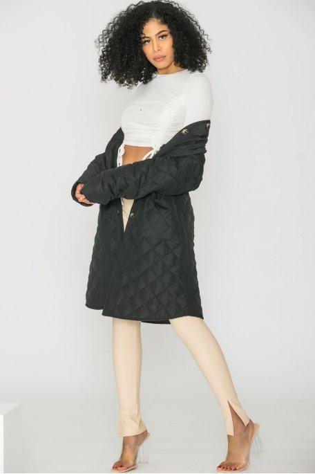 Veste longue matelassée noir