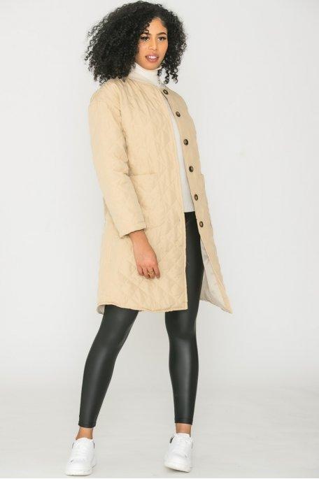 Veste longue matelassée beige