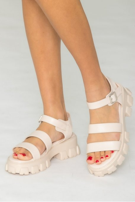 Sandales grosses plateformes beige