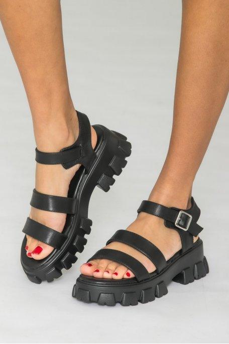 Sandales grosses plateformes noir