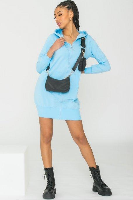 Veste sweat à capuche bleu