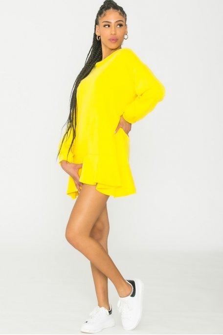 Robe sweat évasée jaune