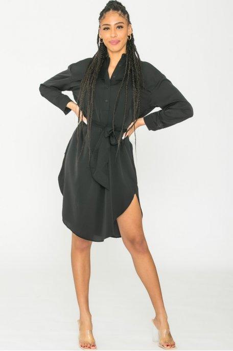 Robe chemise fluide noire