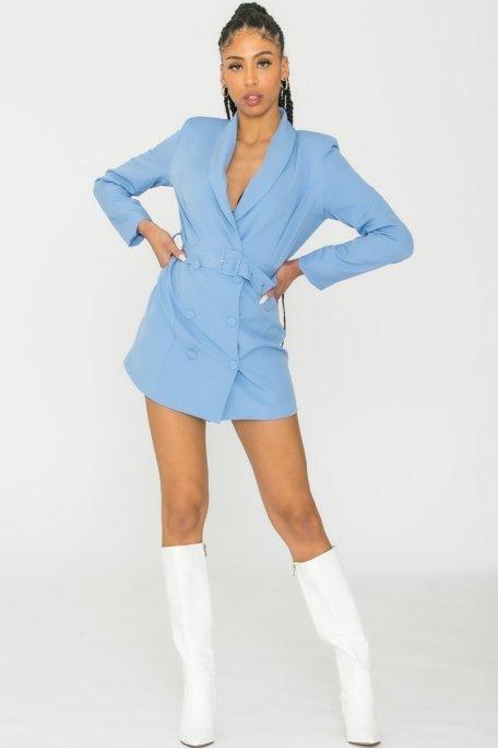 Robe blazer ceinturée bleu