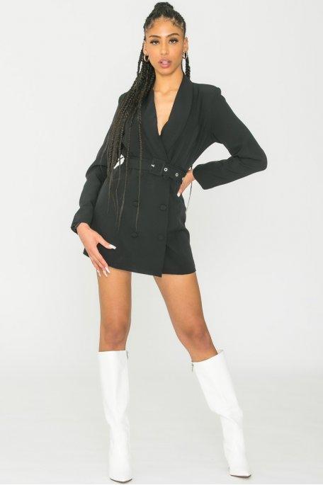 Robe blazer ceinturée noir