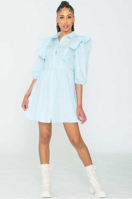 Robe chemise froufrou bleu