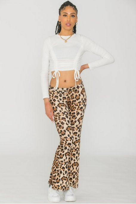 Pantalon flare léopard camel