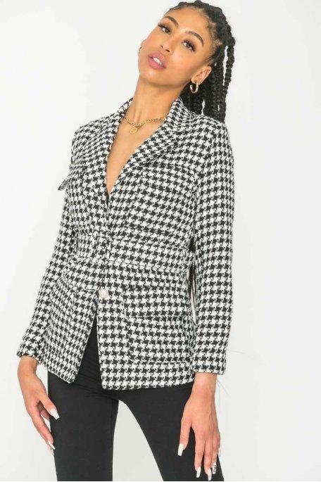 Veste tailleur tweed noir