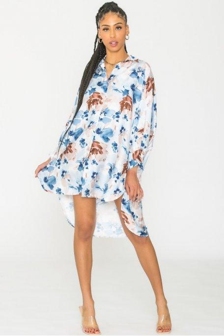 Chemise longue fleurie bleu